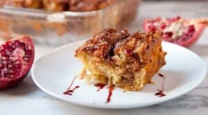 Pomegranate Coffee Cake: What I like to call the Pom Bomb because after the coffee cake bakes you drizzle on a rich pomegranate syrup with seeps into the cake. So wonderful!