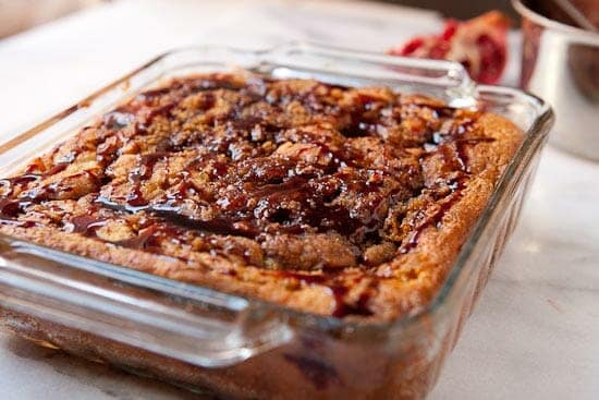 Pomegranate coffee cake drizzle.