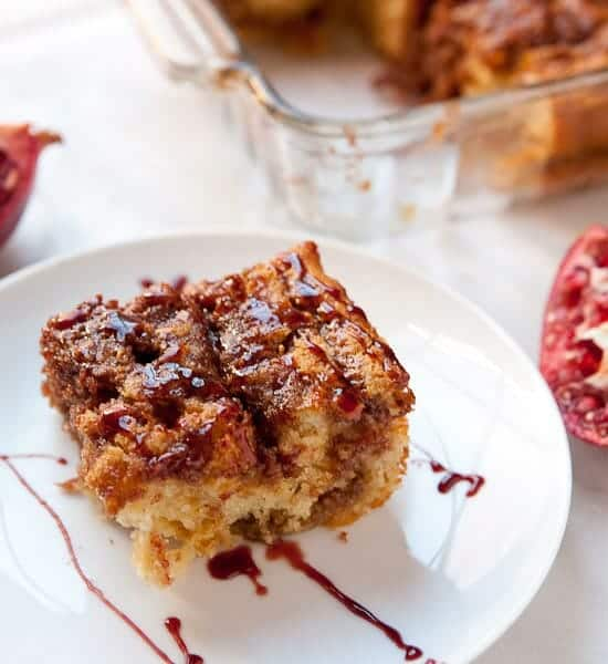 A piece of pomegranate coffee cake.