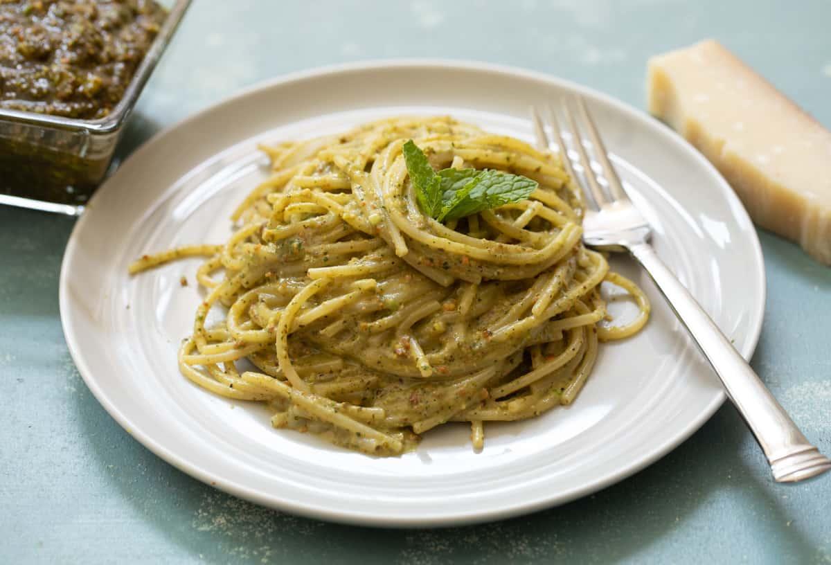 Pistachio Pesto on Spaghetti