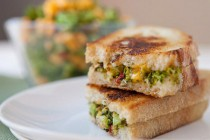 Charred and Chopped Broccoli Grilled Cheese: Roasted broccoli florets and spicy peppers chopped and stuffed inside a grilled cheese with gooey cheddar cheese!