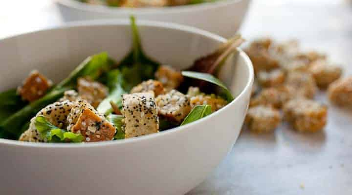 Everything Croutons! Take your old bread from stale to awesome with this simple spice mix that is typically used for bagels. So great on salads! Check out the post to learn my trick to get the seasonings to stick!