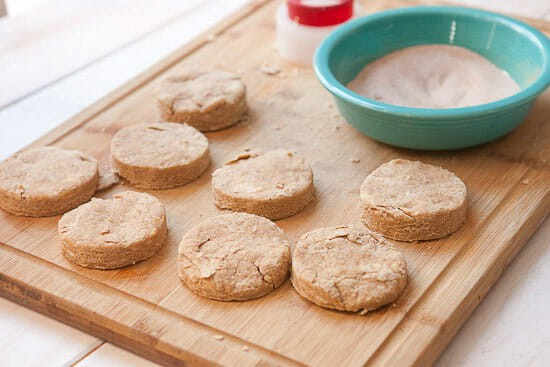 Snickerdoodle scones cut out
