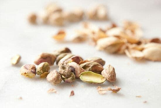 Shelling pistachios.