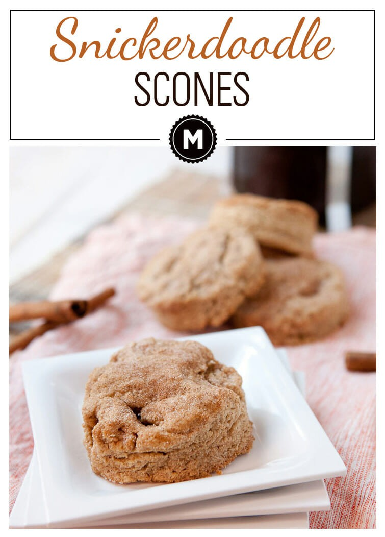 Snickerdoodle Scones: Delicious homemade butter scones packed with cinnamon and dusted with cinnamon sugar. The perfect breakfast snack with a cup of coffee!