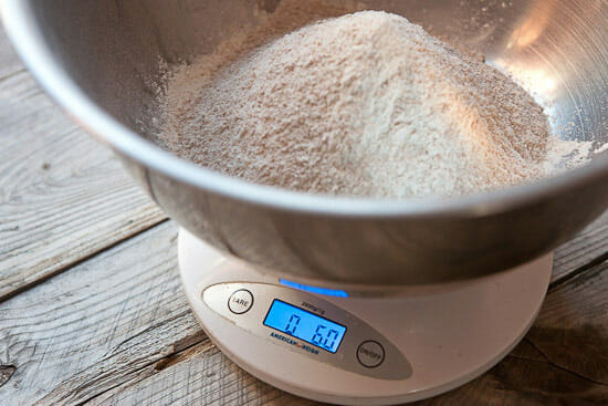 weighing whole wheat for beer bread