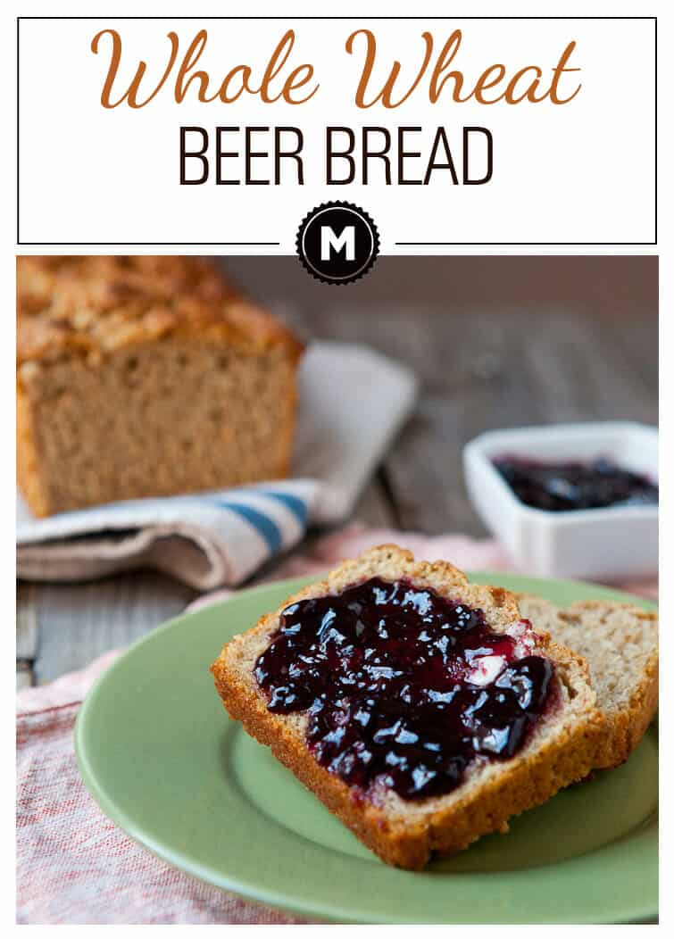 Whole Wheat Beer Bread: A quick toss-together bread loaf measured out to require just one can of beer! So good with toast and jam.