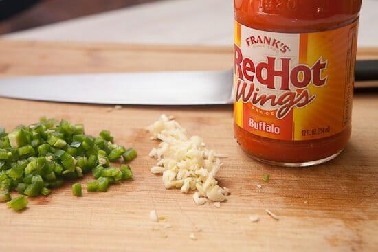 Basics for cheesy buffalo chicken dip
