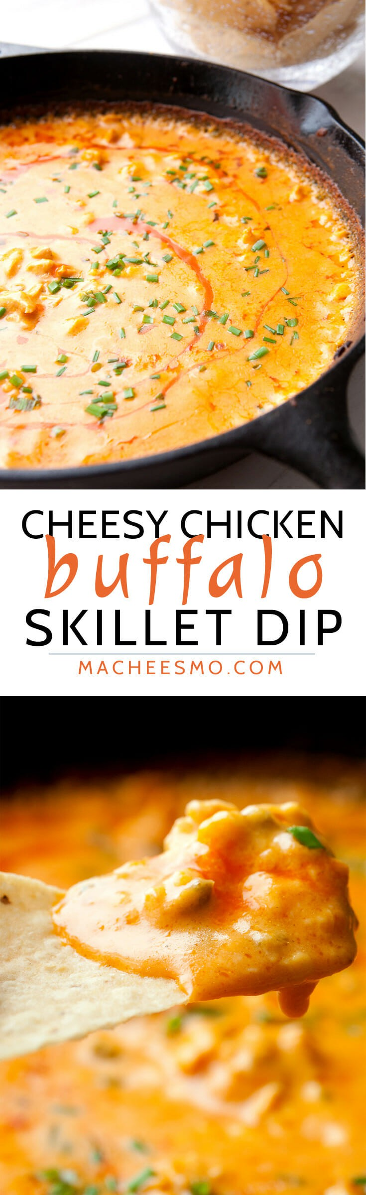 Cheesy Buffalo Chicken Dip baked in a skillet! This is a surprisingly easy dip made with real cheese and baked until piping hot. So addictive and always a crowd pleaser! | macheesmo.com