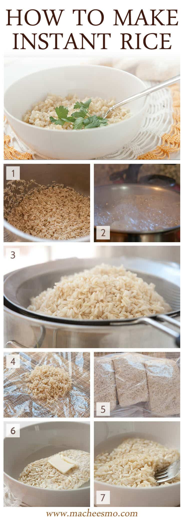 Instant Rice At Home: The trick and tutorial for making excellent instant rice at home. I like to use brown rice. Cook a big batch, store it correctly, and reheat it in minutes!