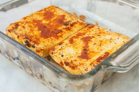 Spicy tofu baked for lettuce wraps.