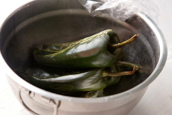 Steaming peppers.