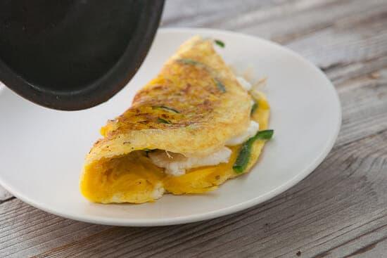Golden beet omelet done.