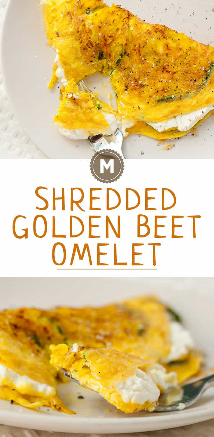 Shredded Golden Beet Omelet: Slightly sweet golden beets, shredded and sauteed with poblano peppers and folded into a perfect omelet with goat cheese!