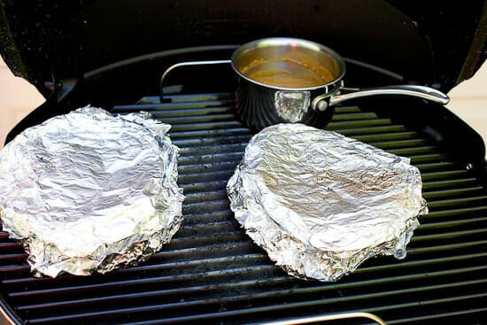 Grilled poutine foil packs.