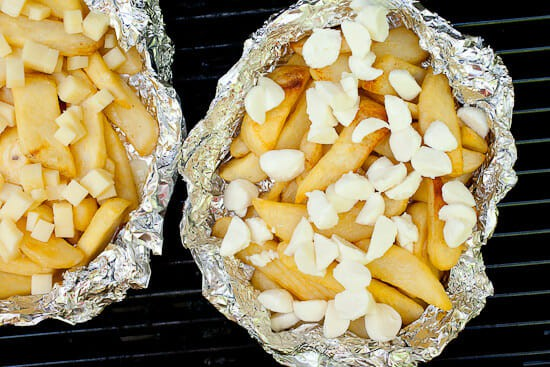 Grilled foil packs with cheese.