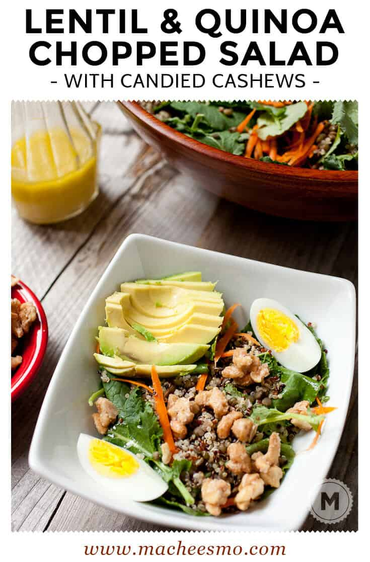 Lentil and Quinoa Chopped Salad: A delicious and hearty chopped salad loaded with lentils, quinoa, a white wine dressing, and spiced candied cashews. Great for a hearty lunch or dinner!