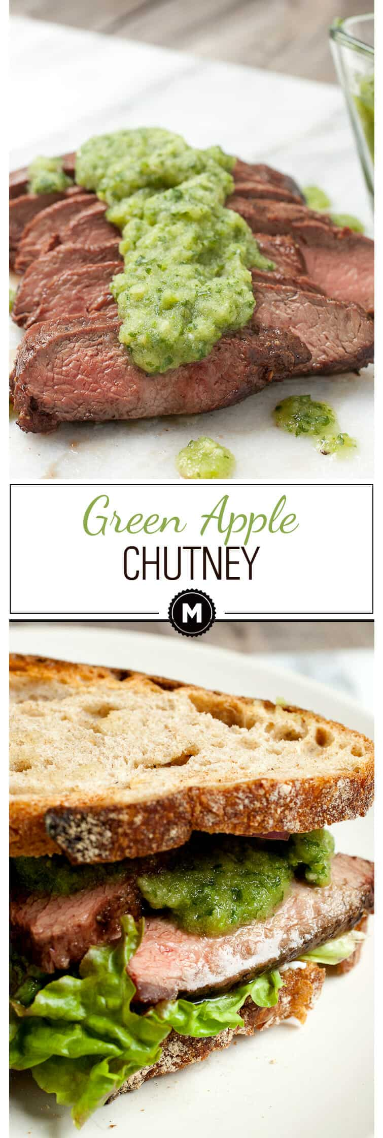 Fresh Green Apple Chutney: Tangy green apples mixed with herbs, ginger, and garlic for a perfect summer chutney. Great on any grilled meat, but especially grilled steak! | macheesmo.com