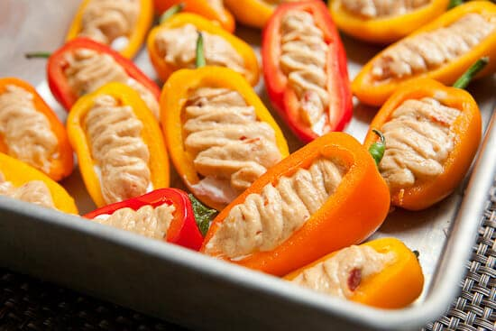 Goat cheese stuffed sweet peppers.
