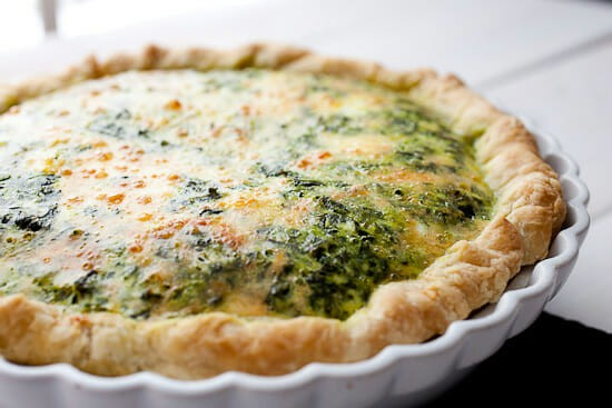 Pesto kale quiche baked.