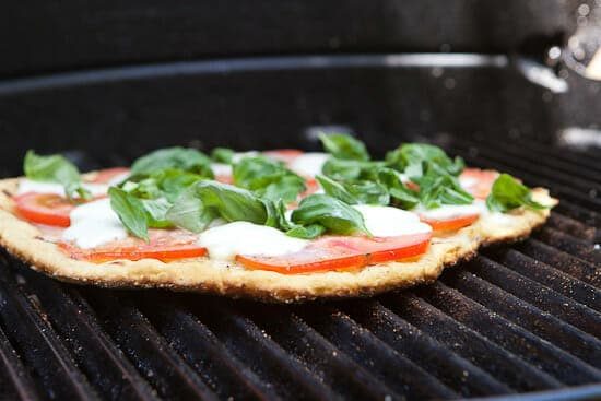 Grilled gluten free pizza.