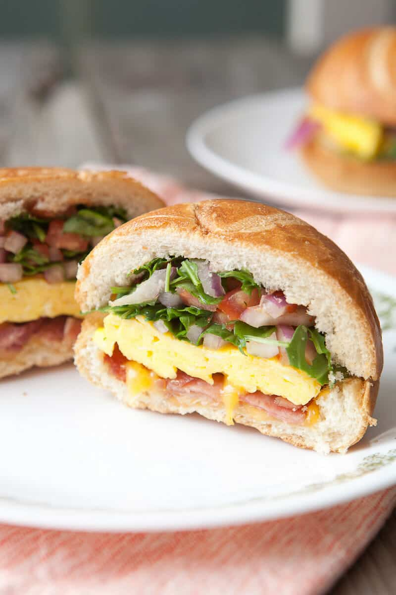 Hollow Hard Roll Breakfast Sandwich: The best way to make a breakfast sandwich is to ditch most of the bread and stuff it full of all kinds of goodies. This is my new favorite thing. | macheesmo.com