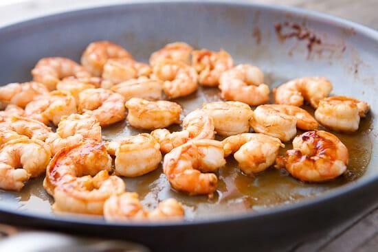 Thai shrimp flatbread.