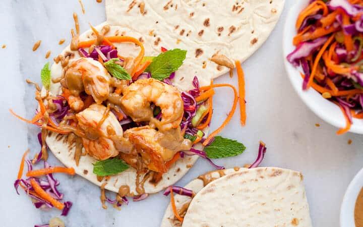 Thai Shrimp Flatbreads.