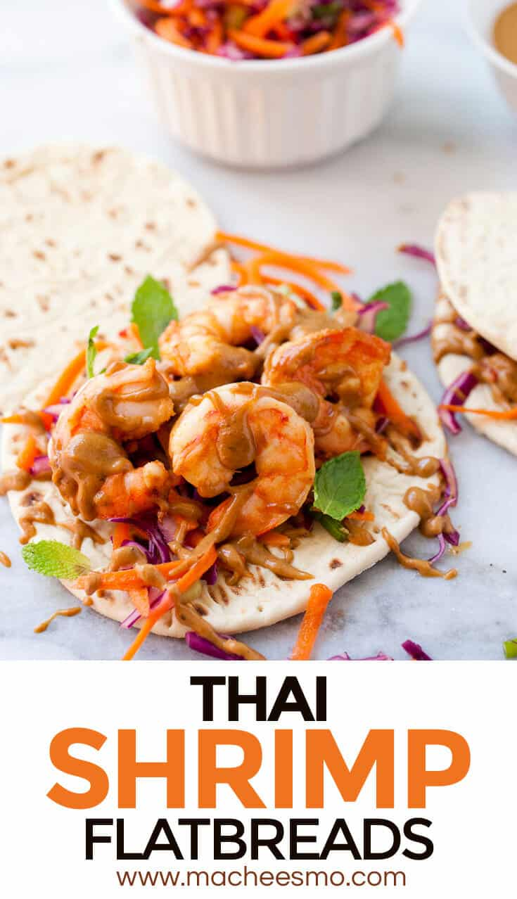 Thai Shrimp Flatbreads: Spicy, savory shrimp layered with a homemade crunchy slaw and spicy peanut sauce. A light, fresh summer meal! #spons