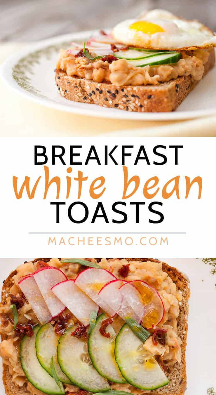 Breakfast White Bean Toasts: Creamy and savory white beans mashed together with sun-dried tomatoes and shallots and served on toast with a crispy fried egg and thin, crunchy veggies. A great hearty breakfast and it's a quick 15 minute prep!