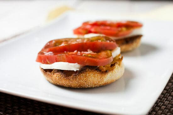 Caprese breakfast sandwiches.