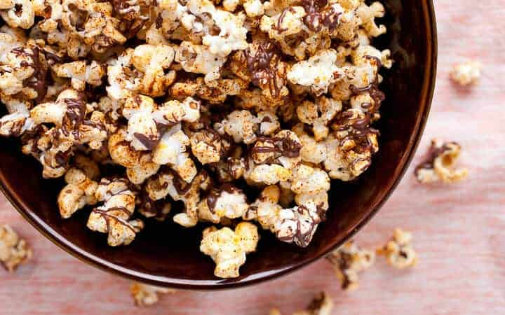 Mexican Chocolate Popcorn: This is probably the most addictive popcorn I've made. Slightly sweet but with a spicy kick! This recipe makes a big bowl of it, but you won't want to share!