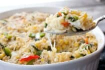 Spicy Corn Orzo Bake: Sweet corn baked with orzo, roasted chili peppers, and fresh mozzarella. The perfect way to show off all the delicious sweet corn during the summer!