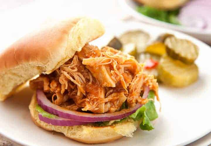 BBQ Chicken Sloppy Joes! These are perfect for a quick weeknight meal. They are fast to make from scratch or you can toss everything in a slow cooker and they are ready when you are! Great for a back-to-school, busy weeknight meal! | macheesmo.com
