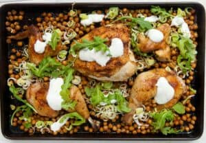 Easy Chicken Sheet Pan Supper: Making dinner is as easy as putting a sheet pan in a hot oven! The trick to this is to make sure you add the ingredients to the sheet pan in the right order! | macheesmo.com