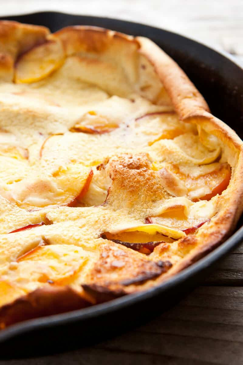 Peach Dutch Baby with Berry Syrup