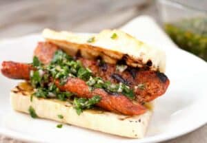 Choripan! The traditional Argentine street sandwich is SO easy to make at home. Find some good sausage, a good piece of baguette, and make it happen!