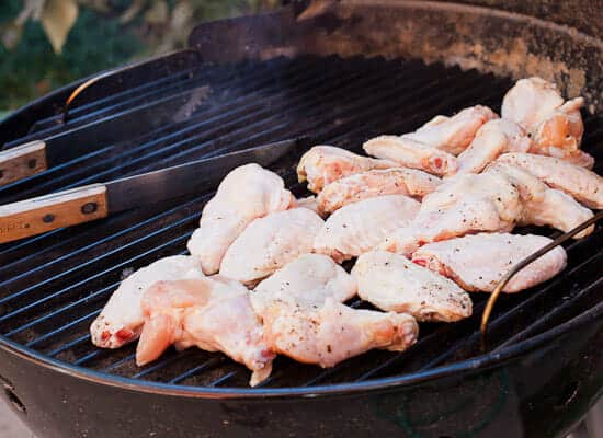 Start chicken wings over indirect heat so they don't burn.