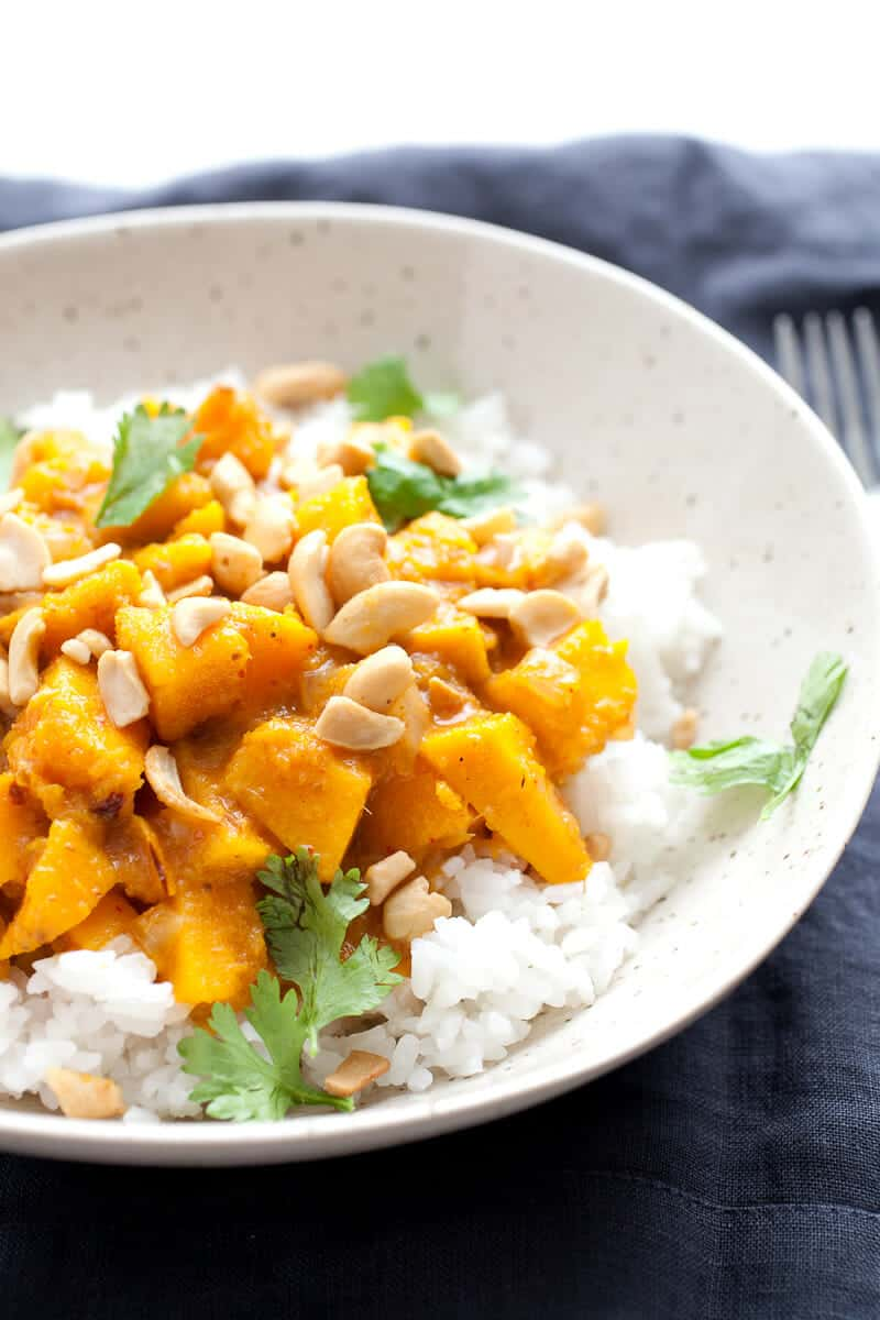 Pumpkin Curry Rice Bowls - Made from scratch with a real pumpkin! Don't get scared. It isn't that hard and is totally worth the work. Slightly spicy and sweet, this is the curry recipe you need in the fall!