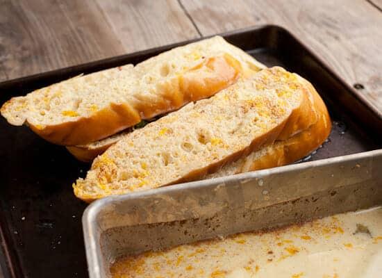 Savory Stuffed French Toast custard.