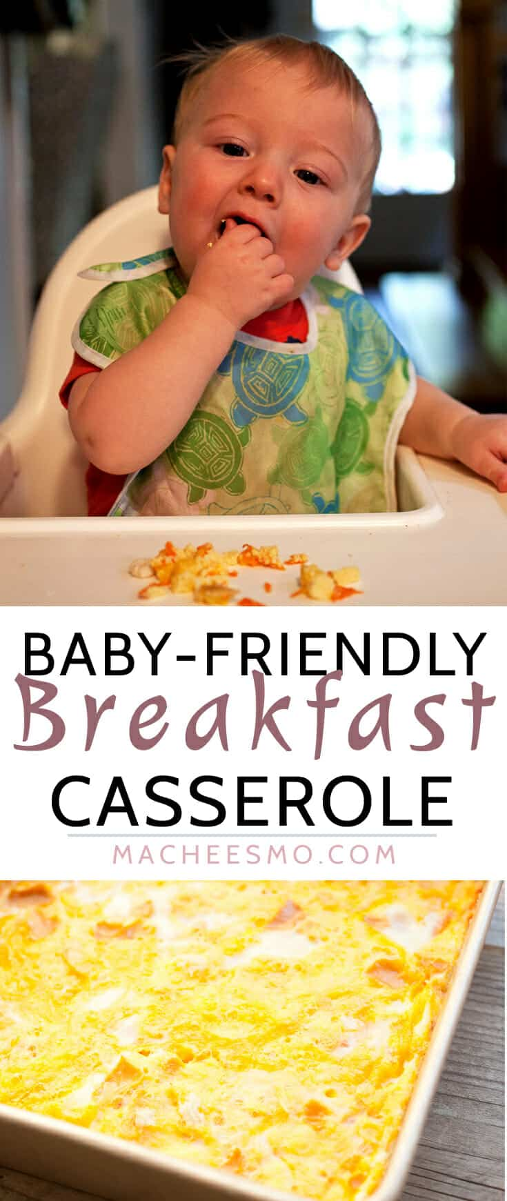 Baby-Friendly Breakfast Casserole: Feeding a toddler in the morning can be tricky. This simple shredded vegetable casserole is perfect for little ones. It's easy to heat up and they can pick it up on their own! Baby approved! | macheesmo.com