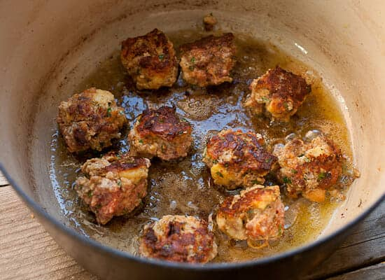Tomato Red Wine Braised Meatballs browning