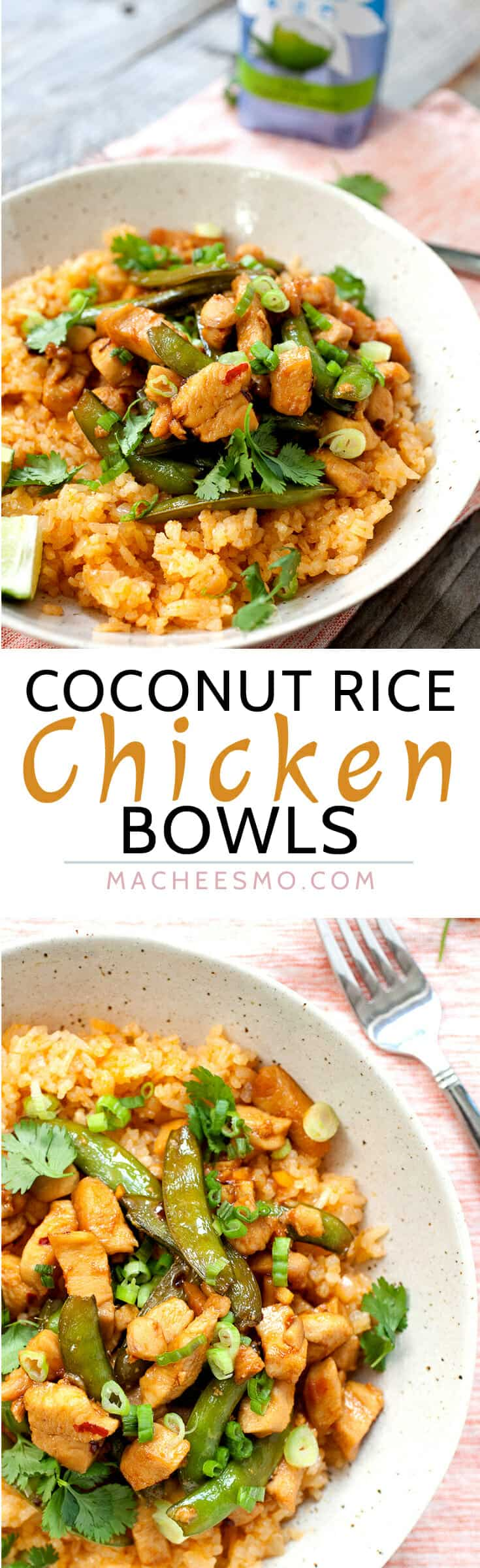 Coconut Rice Chicken Bowls: This coconut rice, made with coconut water instead of coconut milk, is light and flavorful with just a touch of spice. On top: chicken, snap peas, and an easy sauce. Takes about 30 minutes and better than take-out! Sponsored by @onecoconutwater | macheesmo.com