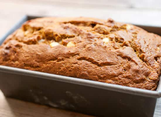 Coconut White Chocolate Pumpkin Loaf baked