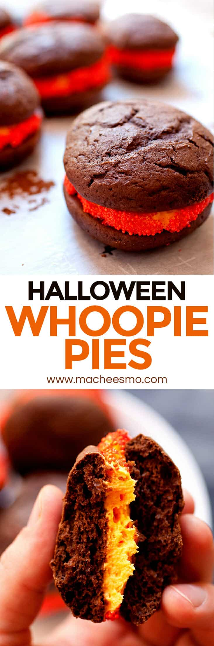 Halloween Whoopie Pies: Homemade chocolate and marshmallow whoopie pies! Perfect for a Halloween party! Easier to make than you might think, really fun, and scary delicious! | macheesmo.com