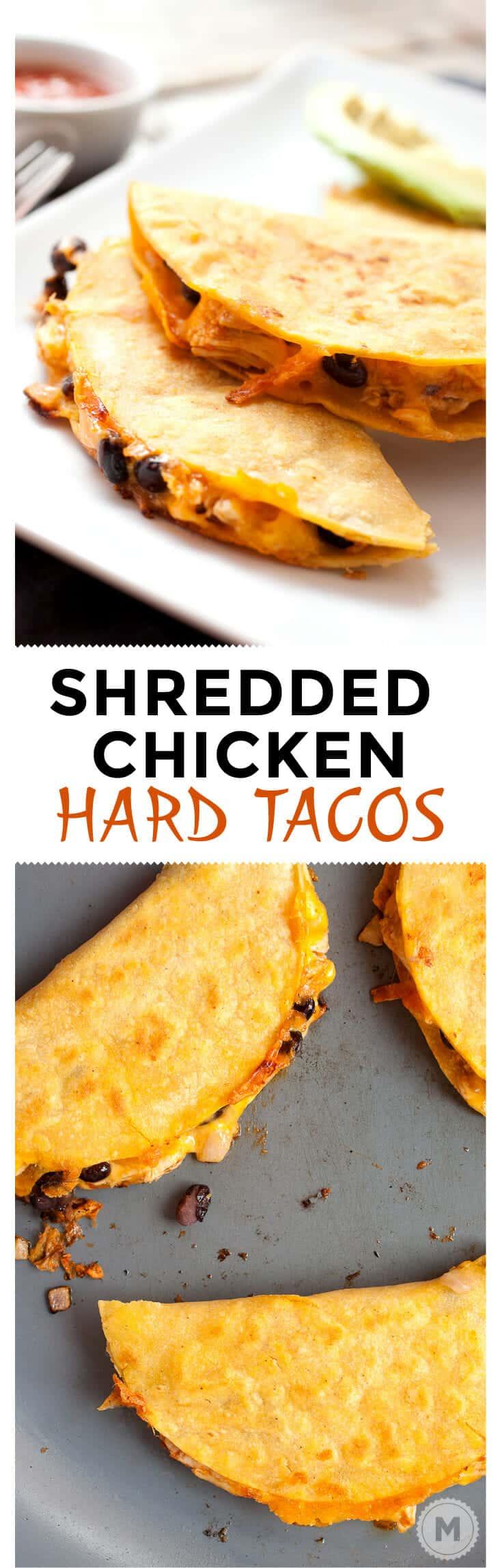 Shredded Chicken Hard Tacos - Easy to Make! ~ Macheesmo