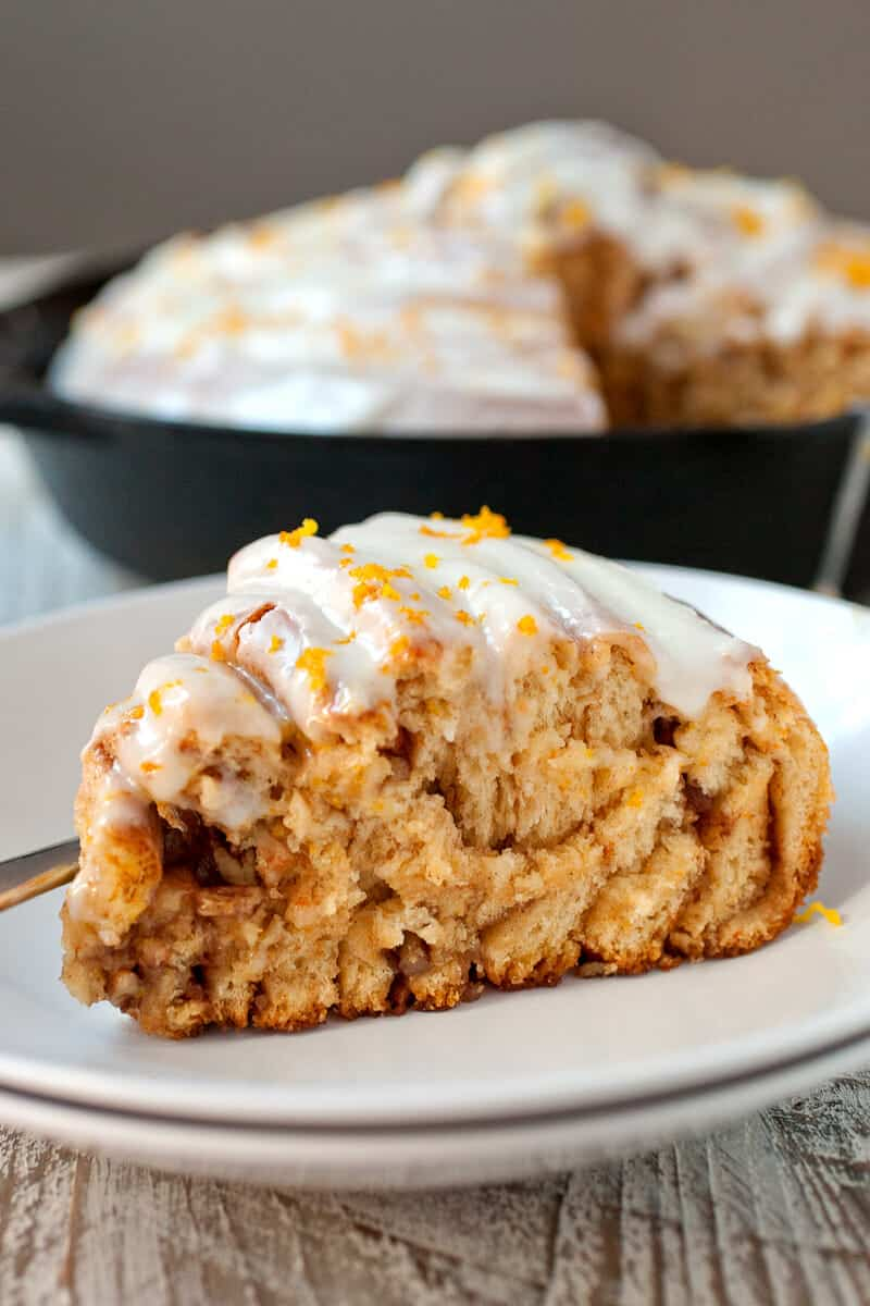 Giant Sweet Potato Cinnamon Roll: Say hello to layers and layers of soft enriched sweet potato bread with pecans, brown sugar, and a cream cheese orange frosting. Worth the work, people! | macheesmo.com