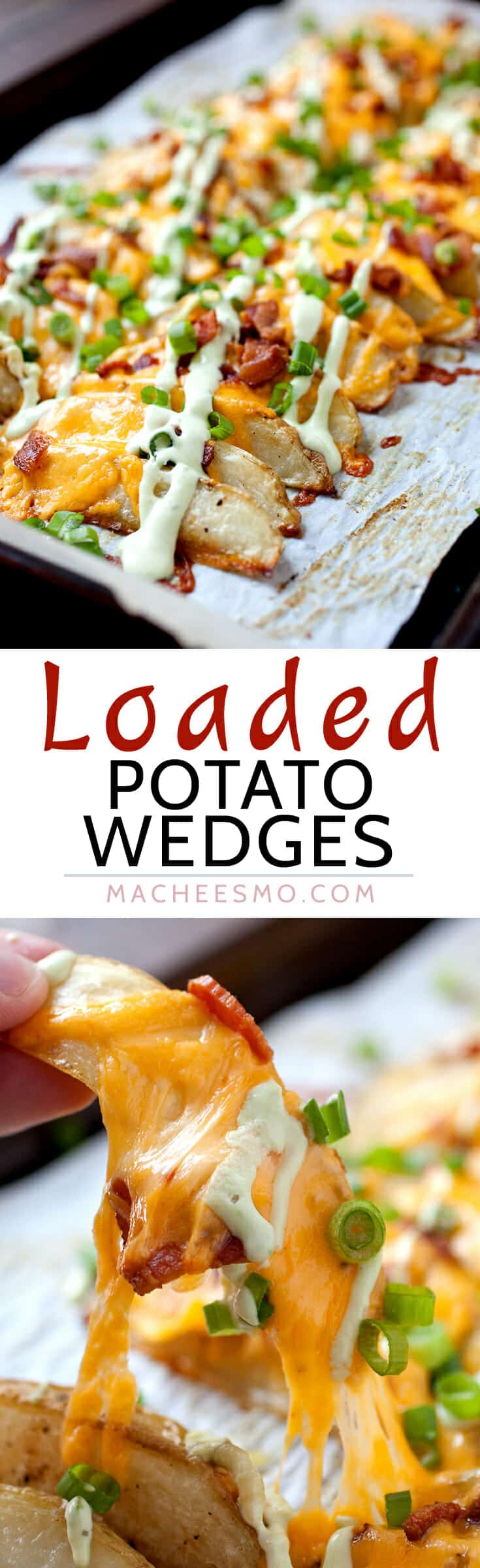 Loaded Potato Wedges - Appetizer? Side dish? Main meal? These completely loaded baked potato wedges have can be anything you want. Cheddar, chives, avocado and sour cream sauce. Potato perfection! | macheesmo.com