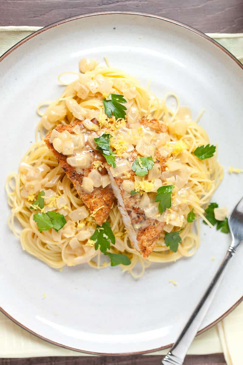 30 Minute Crispy Chicken Pasta with Lemon Sauce