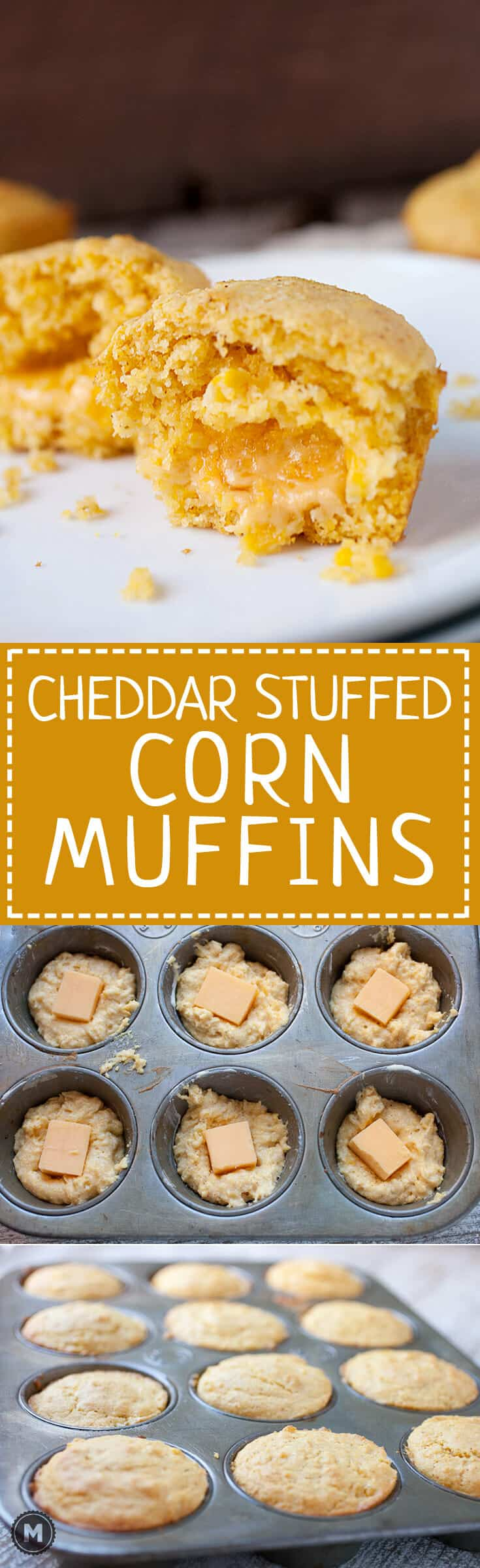 Cheddar Stuffed Corn Muffins: These delicious and savory corn muffins are stuffed with a huge chunk of cheddar cheese. It's like a little bonus when you break into the muffin. Good as a side dish for so many meals. It's the corn muffin you've been waiting for! | macheesmo.com